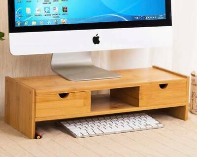 Bamboo Wooden Desktop Stand movable base with wheels vase base Computer easy