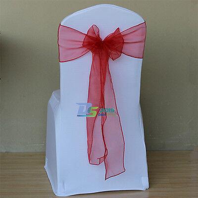 1/10/50PCS Wedding Sheer Organza Chair Cover Bow Ribbon Banquet Decoration