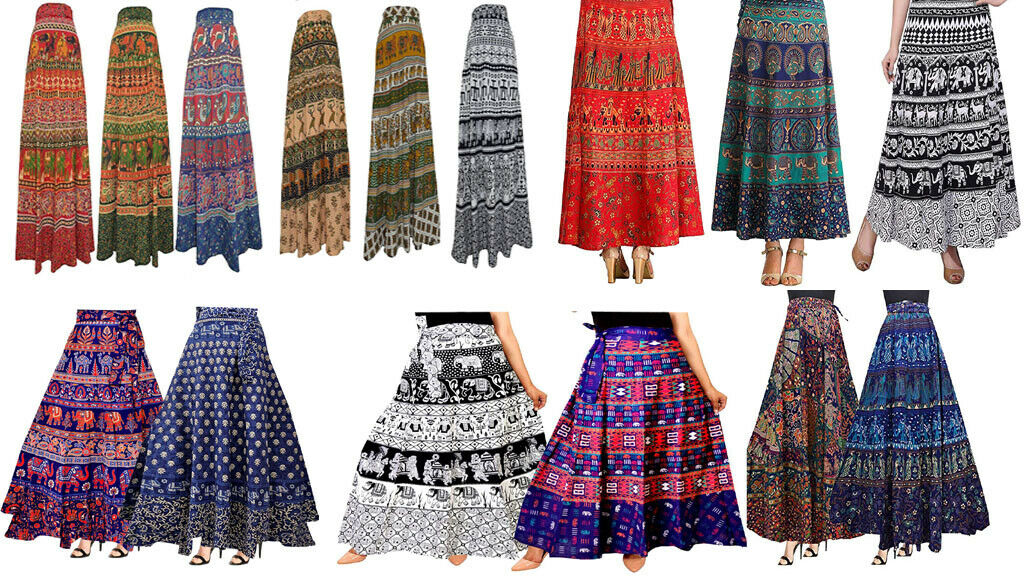 Wholesale lot of 5 Pcs Wrap Around Women Skirts Cotton Printed Reversible