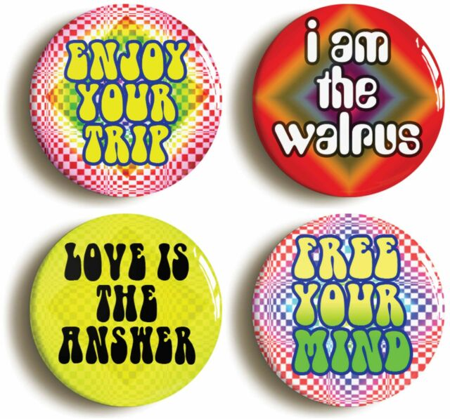 PSYCHEDELIC BADGE BUTTON PIN SET (Size is 1inch/25mm diameter) SIXTIES 1960s LSD