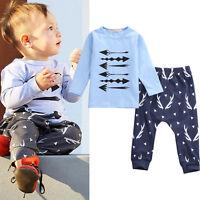 2pcs Toddler Baby Boys Long Sleeve T-shirts Top Pants Outfits Clothing Set 0-24M