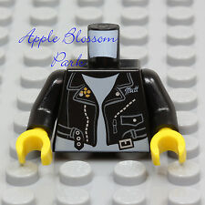 NEW Lego Black LEATHER JACKET MINIFIG TORSO Biker Zipper Coat Blue White T-Shirt