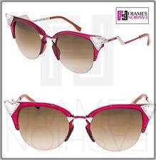 7415354a95d39 FENDI IRIDIA Crystal FF0041S Pink Cherry Palladium Brown Cat Eye Sunglasses  0041