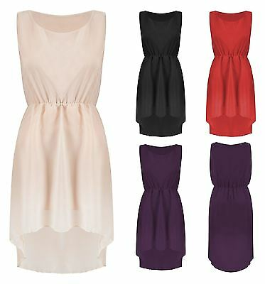 Womens Chiffon Casual Dress Fish Tail Back HighLow Mini Dresses Sleeveless NEW