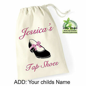 Personalised-Tap-Shoes-Pink-Bow-Cotton-Draw-String-Bag-Print-Birthday-Gift