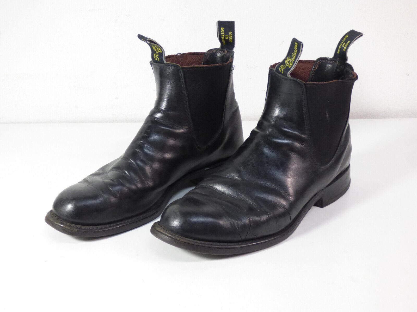 R.M. WILLIAMS Herren Leder Schuhe Stiefel Gr 42 DE   Schwarz Leder ( Q 7513 )