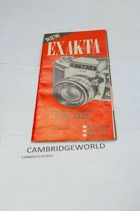 Exakta VX IIB CAMERA SALES BROCHURE EXA IIA EXA IB EXA IA PRINTED in the USA