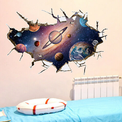 3D Outer Space World Wall Sticker Galaxy Planet Moon Decor Art Decal Removable