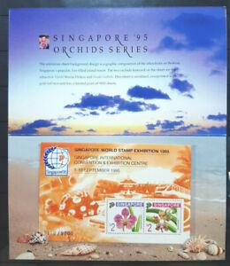 SINGAPORE-1995-ORCHIDS-SERIES-3172-9000-MS-MNH-OG-C-W-FOLDER-MALAYSIA