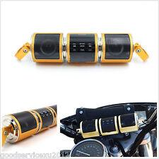 Waterproof 12V Golden Motorcycles Bluetooth Audio Radio Stereo Speaker USB AUX