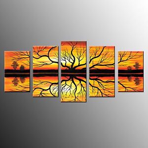 Canvas-Prints-Abstract-Tree-Oil-Painting-Wall-Art-Canvas-Painting-5pcs-No-Frame