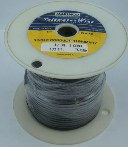 Marinco TS12BK 12 Gauge Black Stranded Wire Tinned Copper 100 Ft 15574