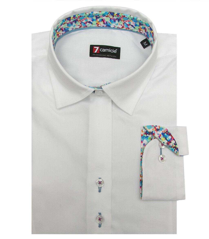 7camicie 4441 - Camicia damen 2 Bottoni Italiano Avvitata Slim Oxford unito Bian