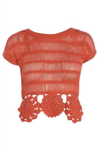 Festival Cute DP Ladies Casual Orange Crochet Hem Crop Top