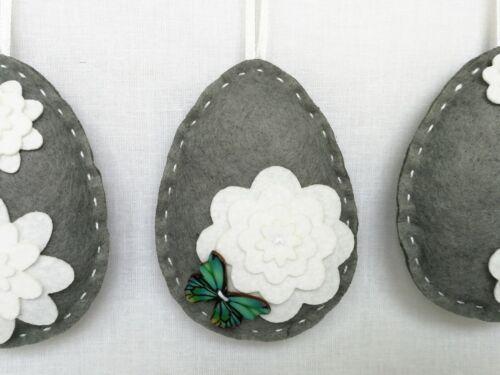 Handmade Set of 3 Shabby Chic Felt Hanging GREY EASTER EGGS White Spring Flowers
