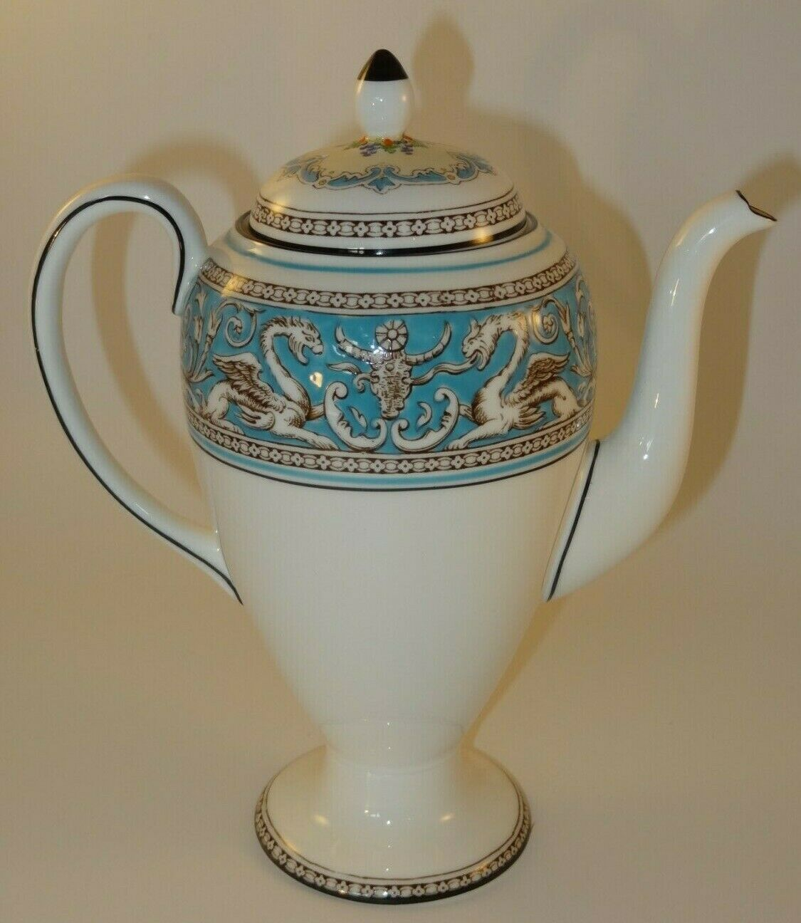 Image 3 - Wedgwood Florentine W2714 Turquoise Coffee Pot 1960s Excellent