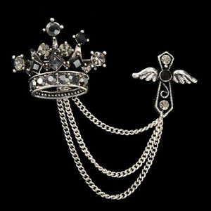 Crown-Angel-Wing-Cross-Unisex-Jacket-Coat-Brooch-Pin-Jewelry-Accent-Pin-Chain