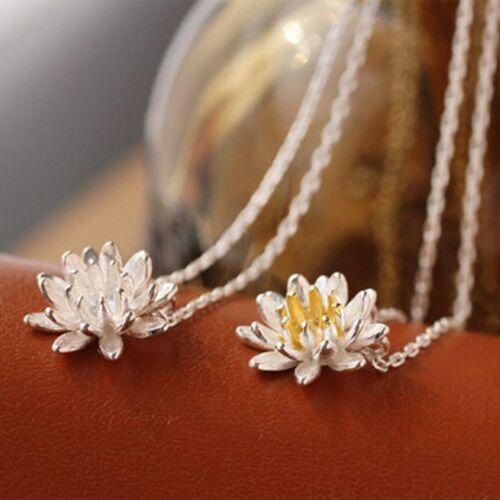 Elegant Flower Short Necklace Cute Lotus Necklaces Pendants For Women Jewelry