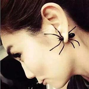 2x-Vintage-Women-Earings-Black-Spider-Earrings-Chic-Two-Parts-Ear-Stud-Earing-SE