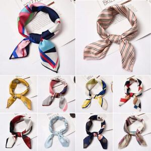 Women-039-s-Vintage-Square-Soft-Satin-Scarf-Skinny-Elegant-Head-Neck-Hair-Tie-Band