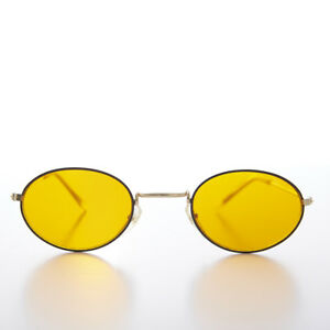 Oval-Blue-Blocker-Lens-Vintage-Sunglass-Black-Gold-Frame-Mellow