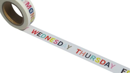 Days Of Week Washi Tape Colourful Planner Themed Masking Paper Craft Tape