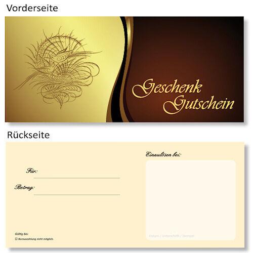 10 x DIN lang Geschenk Gutscheine neutral in exclusiver Premium Ausführung