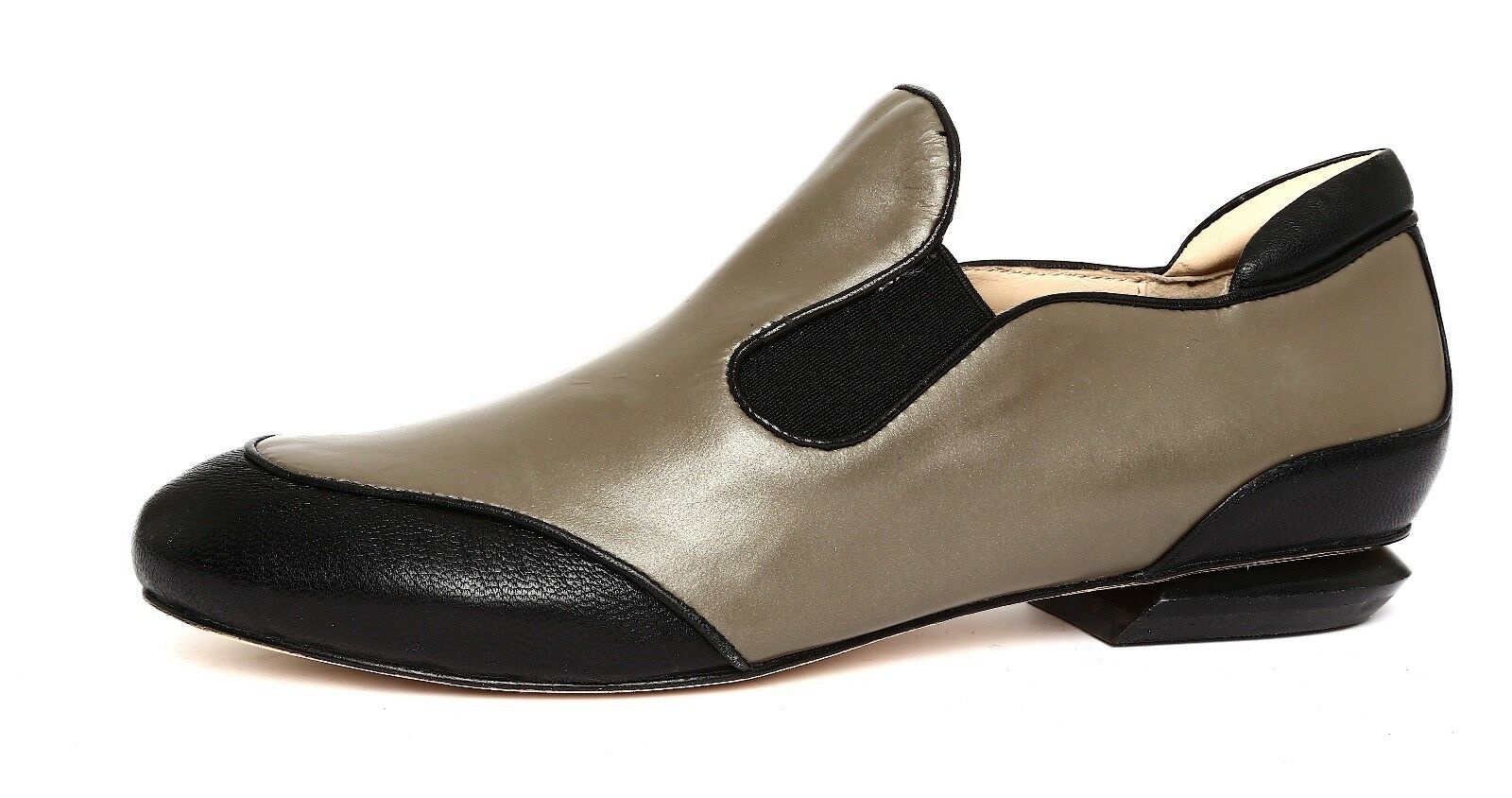Ask Alice Women's Taupe Black Leather Slip On shoes Sz 36.5 EUR 4306