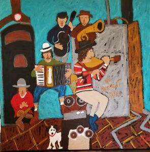 "John Sperry Southern Primitive Musician Folk Art Painting ""The Basement Tapes"""