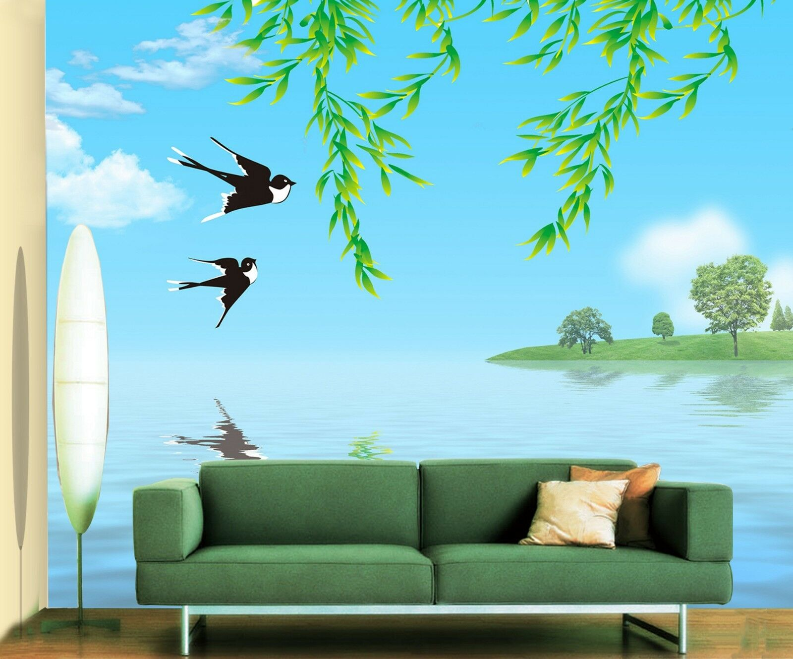 3D Swallows willow lake Wall Paper Print Decal Wall Deco Indoor wall Mural