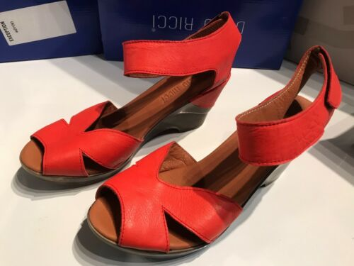 DUNO RICCI QUALITY WOMENS RED ANKLE STRAP PLATFORM WEDGE SANDALS SHOES NEW UK 7