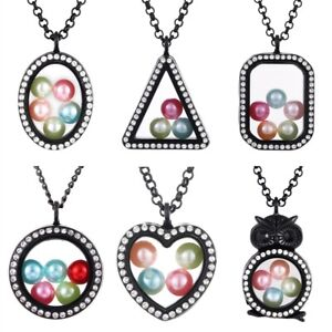 Black-Color-Living-Memory-Floating-Pendant-Pearl-Cage-Glass-Locket-Necklace