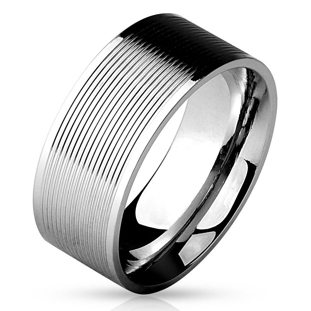 Herren Damen Ring schwarz black line 9 Gr Edelstahl