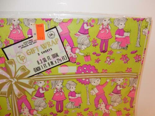 VINTAGE MOD CHILDREN/'S GIFT WRAP 1970s WRAPPING PAPER TUTTLE PRESS MID CENTURY
