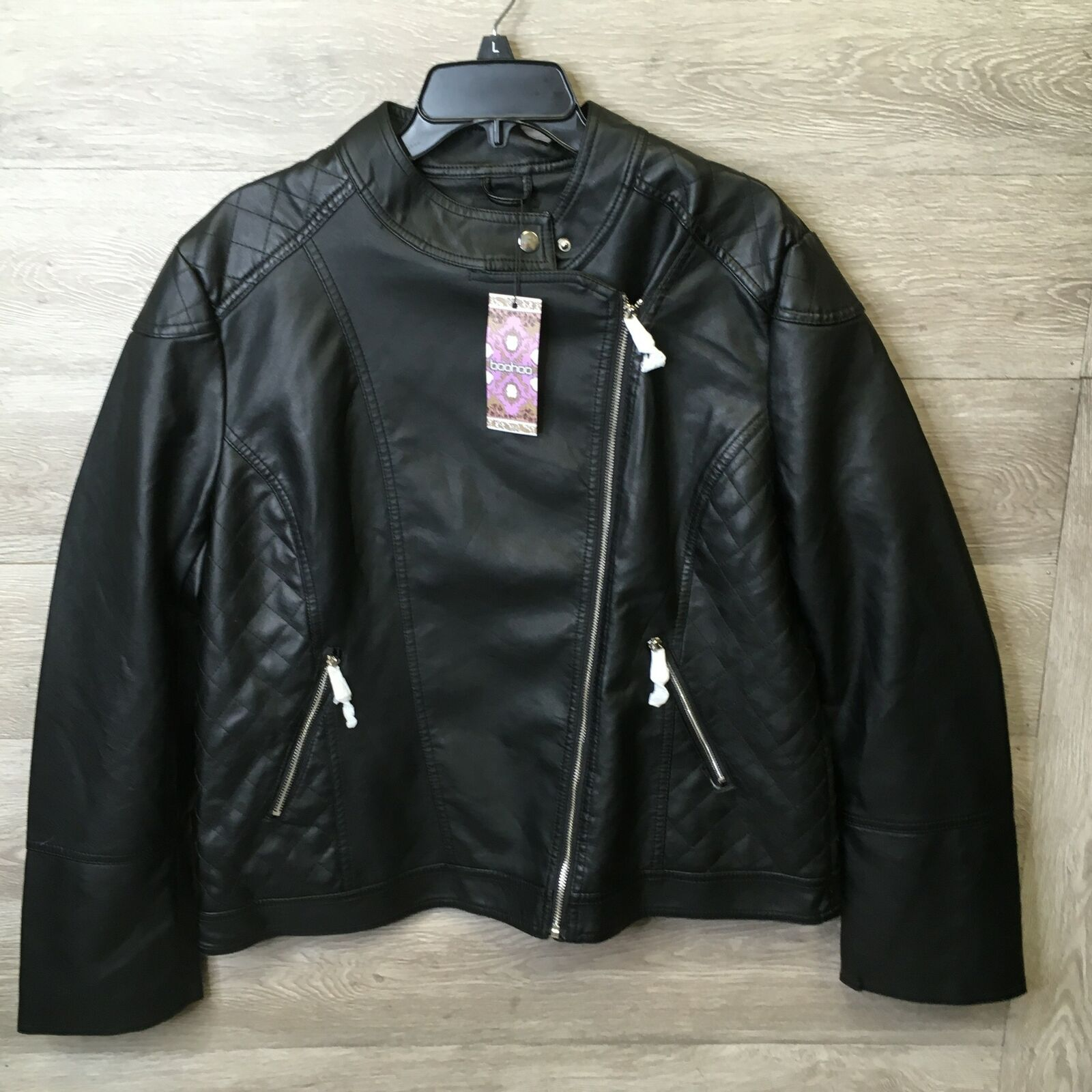 Boohoo Womens Size 14 Plus Black Quilted Faux Leather Biker Jacket NWT