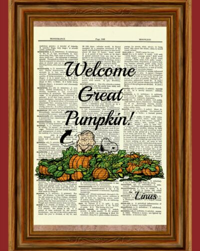 Linus Pumpkin Patch Dictionary Art Print Charlie Brown Peanuts Halloween Snoopy