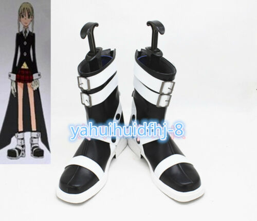 New Anime Soul Eater Maka Albarn Cosplay Shoes Black /& White Boots