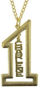 "Vintage Gold Tone Number #1 Name Plate Pendant 2 1/2"" + Necklace 22"" - Charlene"