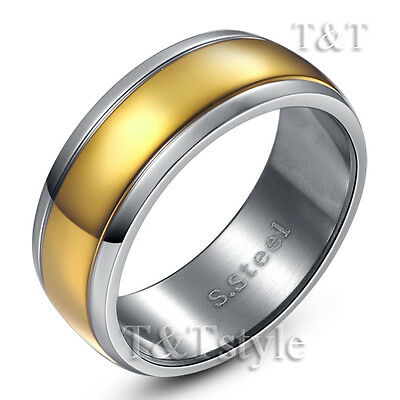 TTstyle 14K GP Stainless Steel Engagement Wedding Band Ring Size 5-14