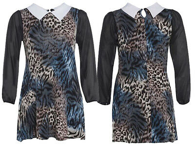 New Ladies Plus Size Animal Print Chiffon Sleeve Peter Pan Collar Dress  14-28 | eBay