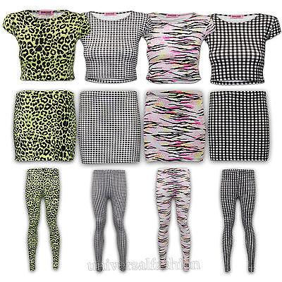 Ladies Crop Top Leggings Mini Skirt Womens Leopard Checked Gingham Print Stretch