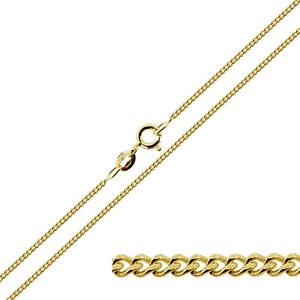 9ct-Gold-Plated-on-Sterling-Silver-16-24-034-inch-1-3mm-Curb-Link-Chain-Necklace