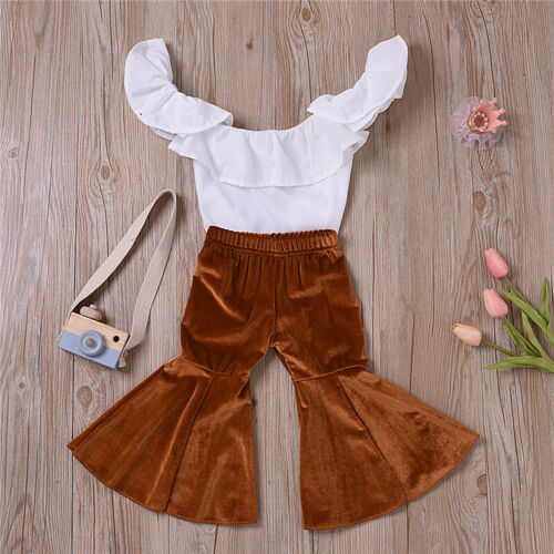 Kids Girls Off Shoulder T-shirt+Flare Trousers Solid Outfits Set Party Cloth NEW