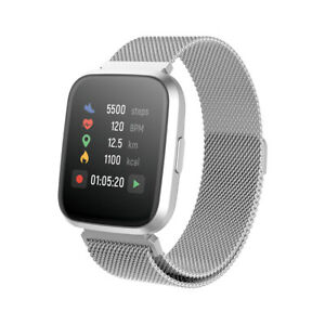 Smartwatch Bluetooth Armbanduhr Schrittzähler mit Pulsuhr Fitness Tracker Silber
