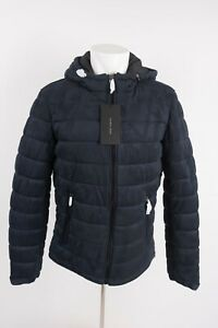 Zara-Man-Mens-Puffer-Coat-Jacket-Large-Faux-Suede-Navy-Blue-Hooded-4341-490-NWT
