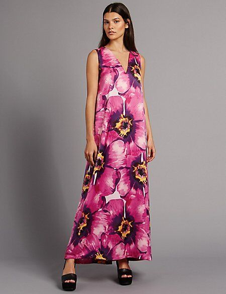 NEW M&S AUTOGRAPH 14 16 PURPLE, FUCHSIA SATIN  SHEEN MAXI DRESS