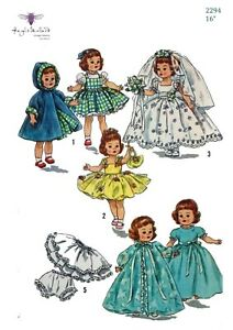 Vintage-50-039-s-Sewing-Pattern-Doll-039-s-Wardrobe-Clothes-Ginny-Muffie-16-034