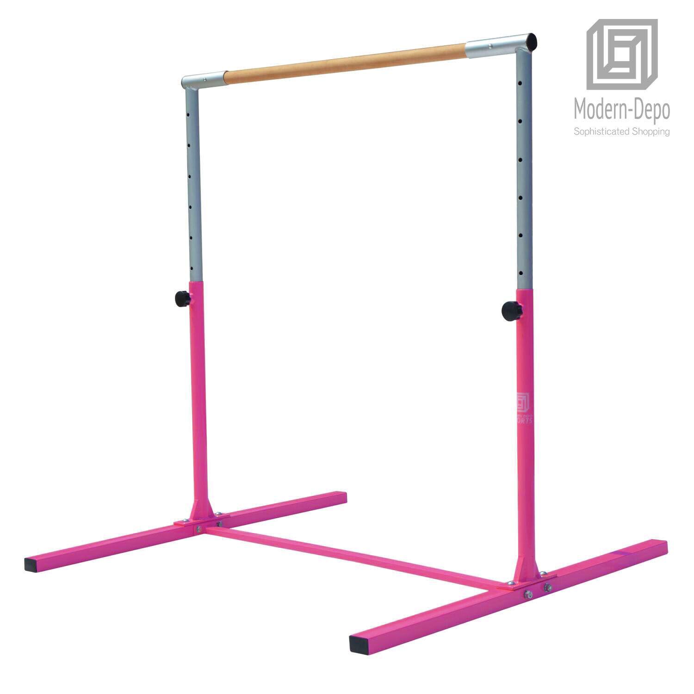 Pink Adjustable (3'-5') Gymnastics Bar Horizontal Training Junior Kip Bar