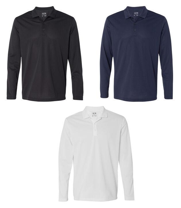 adidas - ClimaLite hosszú ujjú póló, férfi golf póló, fehér, fekete vagy Navy A186