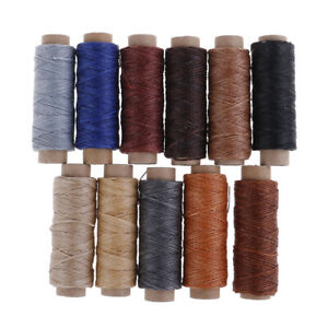 50m-Roll-Leather-Sewing-Flat-Waxed-Thread-Wax-String-Hand-Stitching-Craft-15PYW